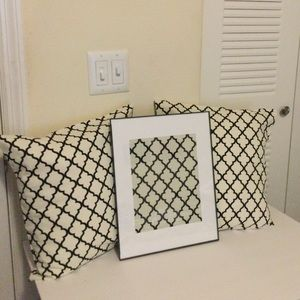 Fabric wall art and throw pillow set.